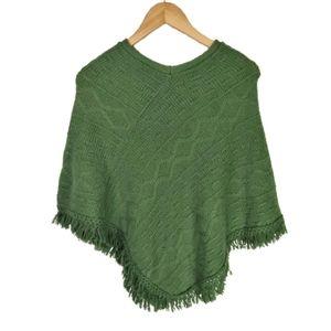Vintage Green Pandora Acrylic Fringe Knit Poncho